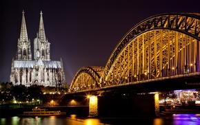 church, urban, river, lights, street light, architecture