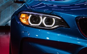 Headlights, blue cars, Kidney Grille, BMW, car, M2