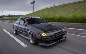 Toyota AE86, drift, JDM, car, motion blur, Toyota