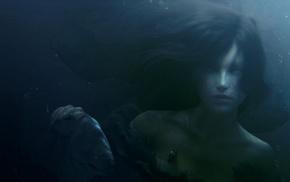 fish, girl, fantasy art, artwork