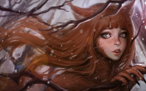 fox girl, artwork, fantasy art