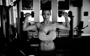 girl, Jordan Carver, monochrome, model, big boobs