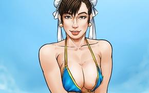 big boobs, chun li, girl, artwork