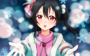open mouth, anime, twintails, Love Live, Yazawa Nico, red eyes
