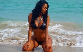 model, girl, girl outdoors, beach, kneeling