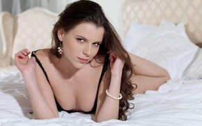 looking at viewer, in bed, Aleksa Slusarchi, pornstar, brunette, bra