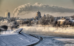 frost, winter, city, building, smoke, cityscape