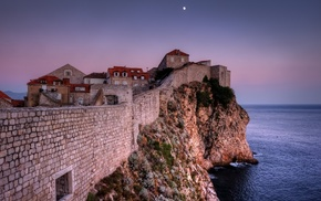 horizon, architecture, Croatia, evening, wall, stones