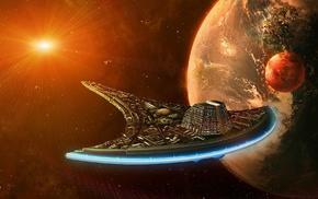 stars, Earth, spaceship, fantasy art, planet, digital art