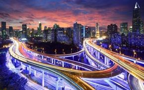 lights, interchange, photography, skyscraper, street light, building