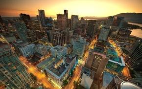 sunset, photography, city, cityscape, lights, skyscraper