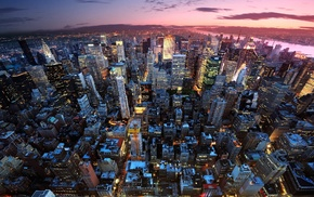 building, city, dusk, New York City, lights, urban