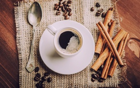 cinnamon, coffee, cup, coffee beans, spoons, food