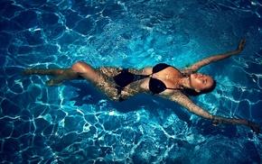 wet, girl, swimming pool, wet hair, water, wet body