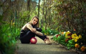 girl, gymnastics, park, model