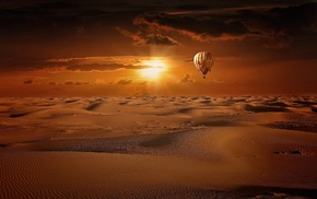 hot air balloons, landscape, flamingos, desert