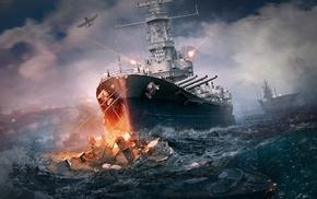 battleships, World of Warships, artwork, video games, battle