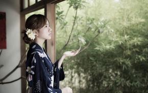 girl, flower in hair, model, Asian