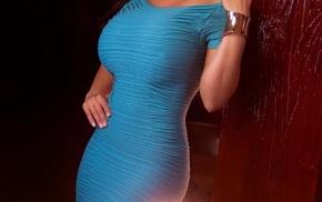 curvy, brunette, big boobs, tight clothing, model, blue dress