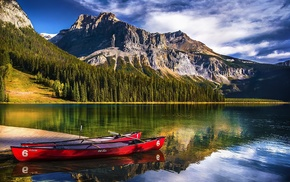 Yoho National Park, mountains, nature, lake, water, Canada