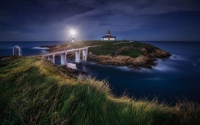 nature, starry night, lighthouse, sea, Spain, grass