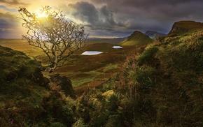 landscape, nature, valley, clouds, Scotland, grass