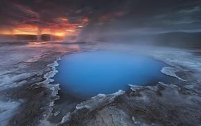 Iceland, water, landscape, clouds, blue, hot spring