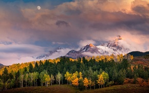 sunlight, snowy peak, clouds, Moon, forest, fall
