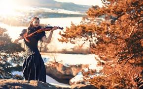 corset, girl, girl outdoors, model, violin