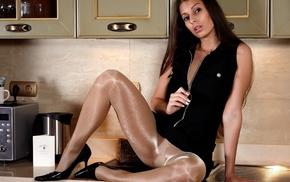 pantyhose, model, kitchen, girl, sitting, spread legs