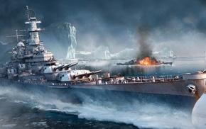 battleships, artwork, video games, World of Warships, iceberg