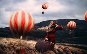 windy, blonde, hot air balloons, looking away, grass, model