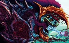 colorful, Brock Hofer, Hyperbeast, creature, digital art, teeth