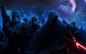 Star Wars The Force Awakens, science fiction, Kylo Ren, Star Wars, artwork, galaxy