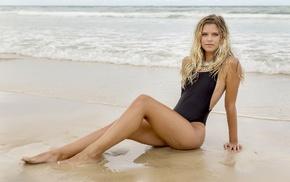 beach, girl, one, piece swimsuit, blonde, model