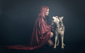 hoods, dog, fantasy art, chains, robes, red
