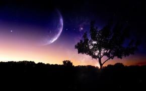night, digital art, trees, nature, photo manipulation, planet