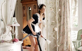 miniskirt, Jennifer Aniston, brunette, actress, maid outfit, cleaning