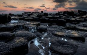 Ireland, rock formation, coast, sea, Giants Causeway, sunset