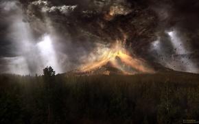 artwork, volcano, clouds, digital art, trees, eruption
