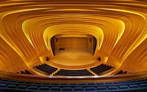 lights, modern, concert hall, piano, wooden surface, Azerbaijan