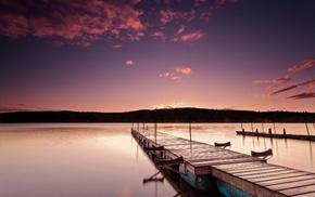 morning, pier, lake, nature