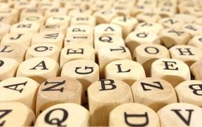 closeup, cube, depth of field, letter, wood