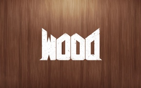 Doom game, wood, letter, video games, minimalism, wooden surface