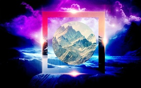 mountains, nature, polyscape, flares, circle, clouds