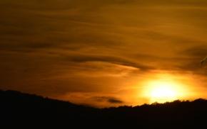 triple screen, sunset, landscape
