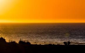 sunset, landscape, triple screen