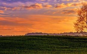 triple screen, landscape, sunset
