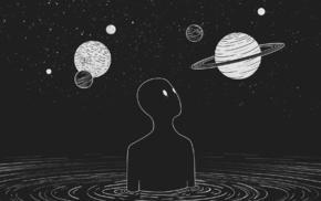 artwork, space, simple, Moon, planet
