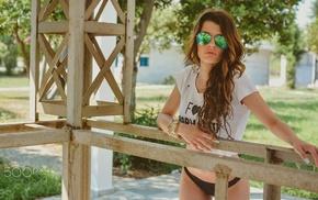 sunglasses, thong, portrait, T, shirt, girl